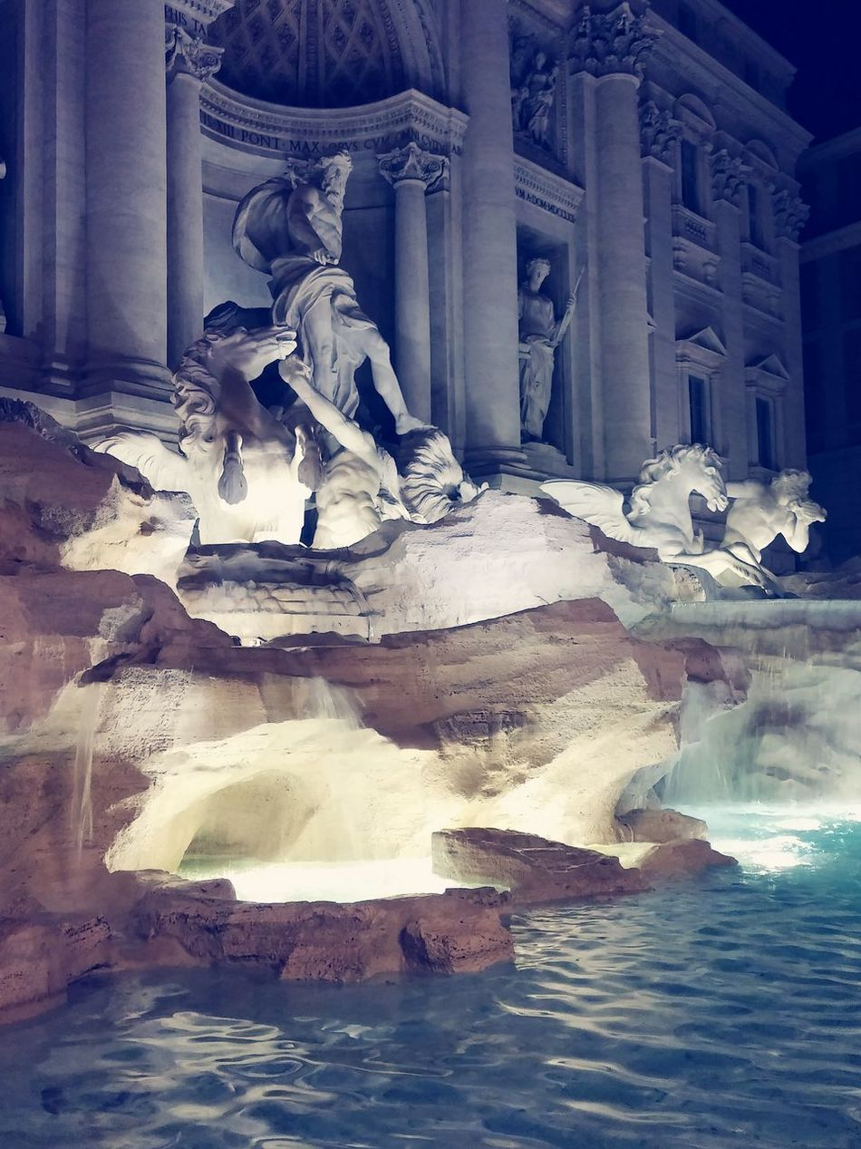 Trevi Fountain Rome By Night Water Architecture