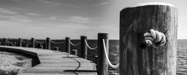 Black & White Black And White Blackandwhite Close-up Cloud Cloud - Sky Day Diminishing Perspective Dock Focus On Foreground In A Row Nature No People Outdoors Perspective Pier Railing Rope Scenics Tranquil Scene Tranquility Water Weathered Wooden Wooden Post