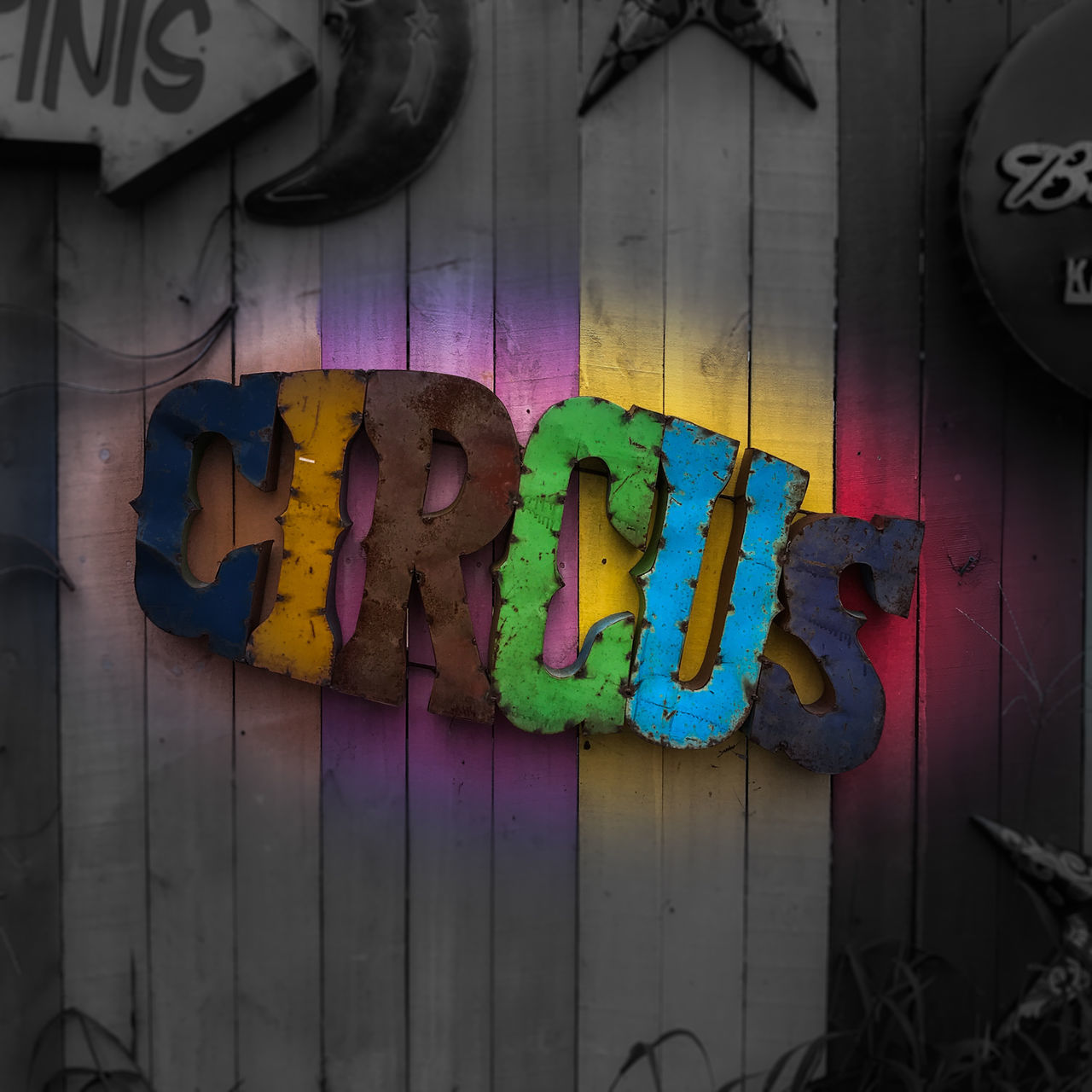 Circus sign Bright Sign Close-up Day Event Sign Indoors  Multi Colored No People Sign, Circus Sign,