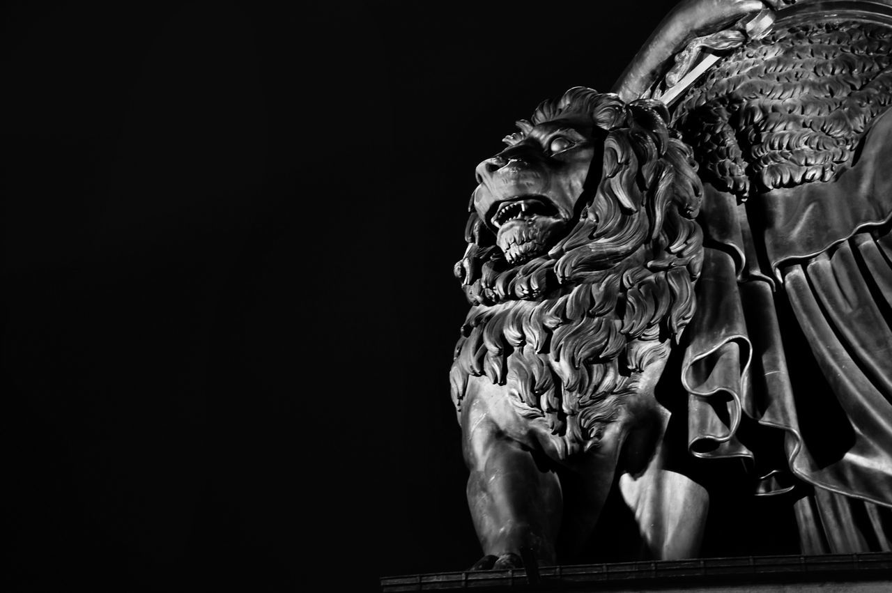 Bavaria's Lion Art And Craft Black Background Blackandwhite Close-up Craft Lion Powerful Sculpted Sculpture Statue Strength