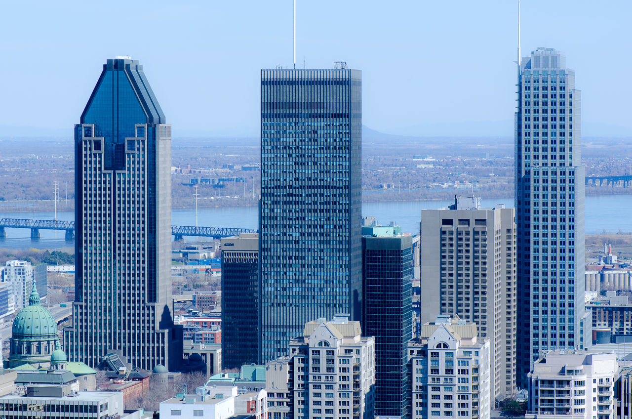 Three highest Montreal Skyscrapers from the top of Mount Royal, Quebec, Canada Aerial View Architecture Business Business Finance And Industry Check This Out City City Cityscape Close-up Day Downtown District Modern No People Outdoors Sky Sky And Clouds Skyscraper Tower Travel Destinations Urban Skyline