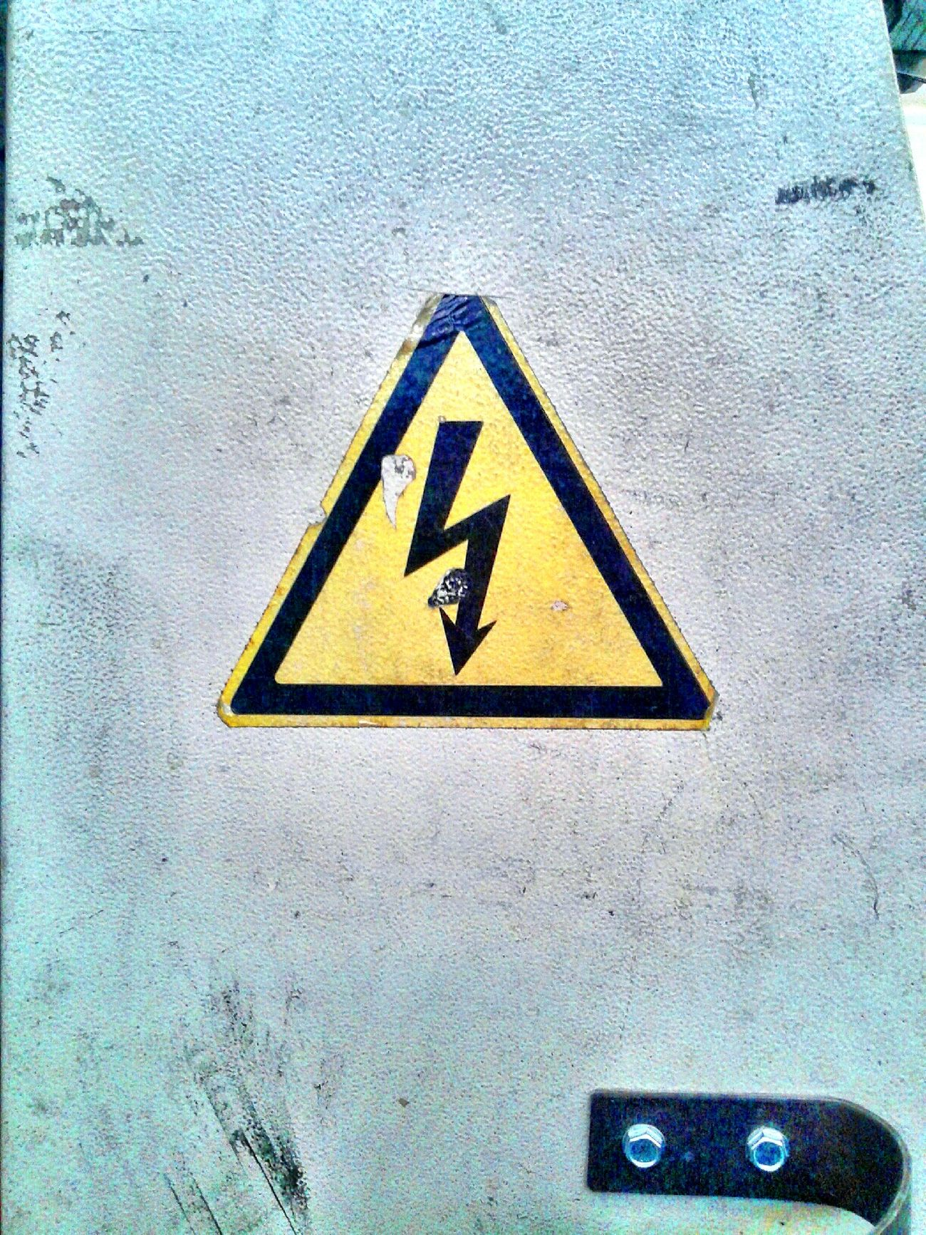 Triangle Shape Warning Sign No People Close-up Outdoors Day High Voltage Sign