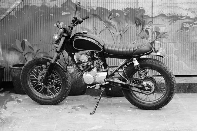 Transportation Stationary Outdoors No People Close-up Day Motorbike Custom Custom Bike Blackandwhite Adults Only Backgrounds Full Frame