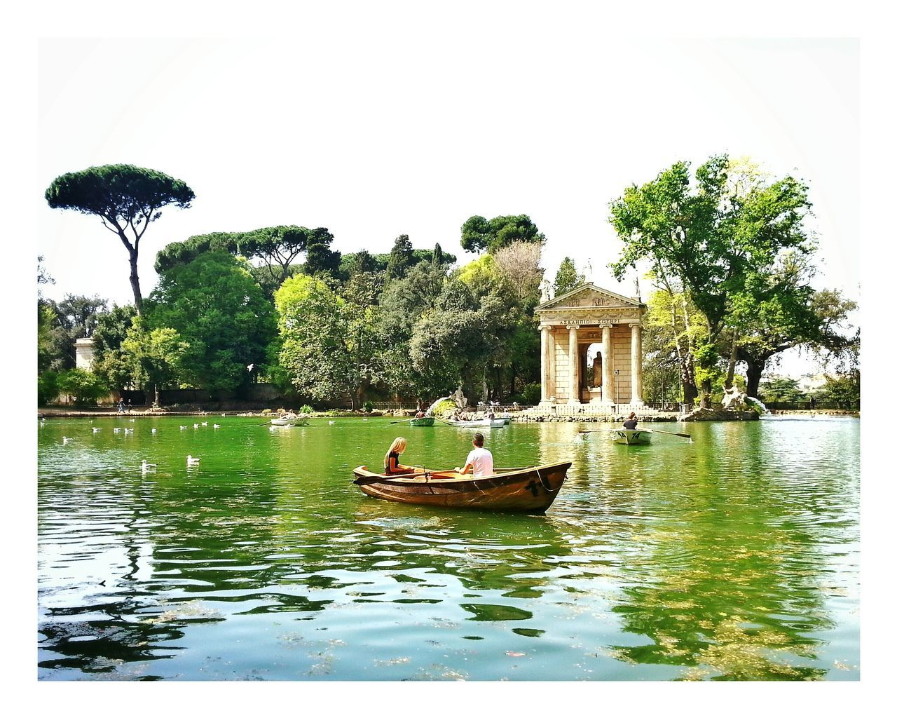 Tourists In Rome Rome By Boat Villa Borghese Park Springtime Spring In Rome Showcase April Turisti a Roma Spring Monument Green