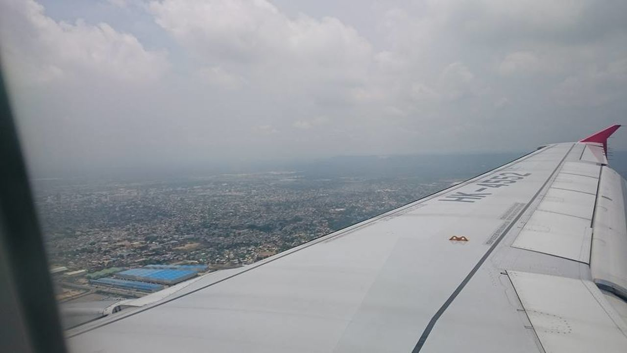 transportation, airplane, journey, aerial view, mode of transport, sky, no people, airplane wing, air vehicle, aircraft wing, day, cloud - sky, nature, outdoors, city, flying