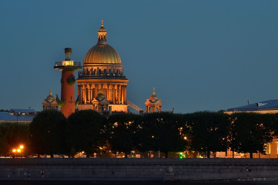 The Old Saint Petersburg Stock Exchange ,Rostral Column and St. Isaac's Cathedral Dome, seen from Mytninskaya embankment, Saint Petersburg, Russia Architecture Blue Building Exterior Built Structure City City Life Clear Sky Colour Of Life Dome Exterior Illuminated Night Outdoors Rostral Columns Russia Saint Petersburg Sky St. Isaac's Cathedral Dome, The Old Saint Petersburg Stock Exchange Tourism Travel Destinations The Magic Mission Battle Of The Cities Welcome To Black The Architect - 2017 EyeEm Awards Neighborhood Map EyeEm Selects