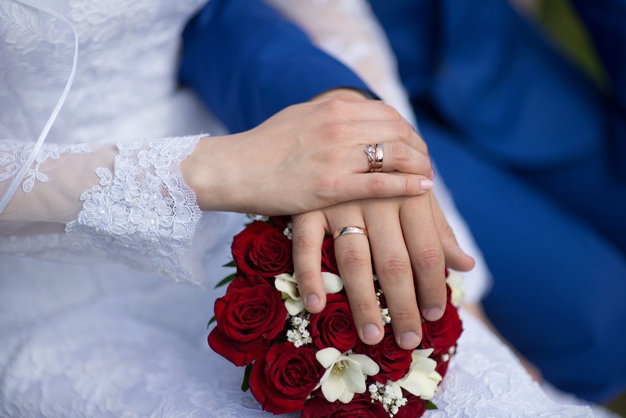 Wedding background Bouquet Bride Bridegroom Celebration Ceremony Couple - Relationship Engagement Ring Groom Heterosexual Couple Holding Hands Human Hand Husband Life Events Love Married Men Ring Togetherness Two People Wedding Wedding Ceremony Wedding Dress Wedding Ring Wife Women