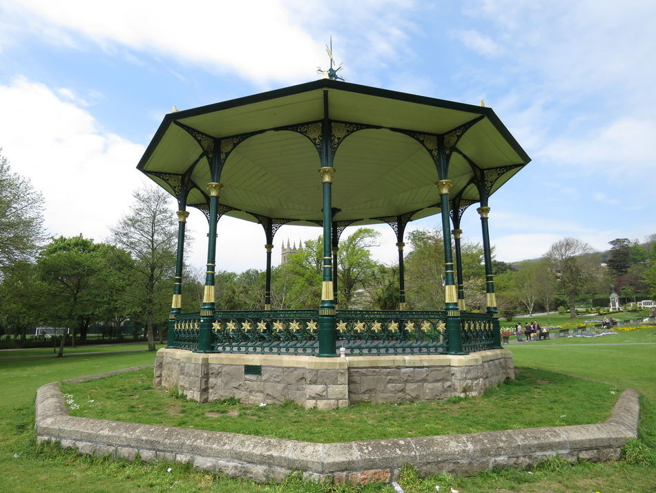 Taking Photos Warm Summer Day Bandstand Paths Bushes And Trees Colourful Flowers Country Life Church Green Lawns