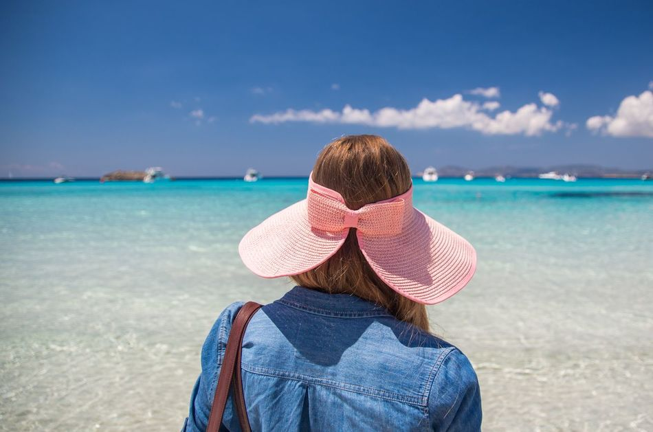 Beach Blue Girl Hat Horizon Over Water Ibiza Looking At View Nature Outdoors Rear View Relaxation Sea Shore Sky Sunny Vacations Water Wearing Hat