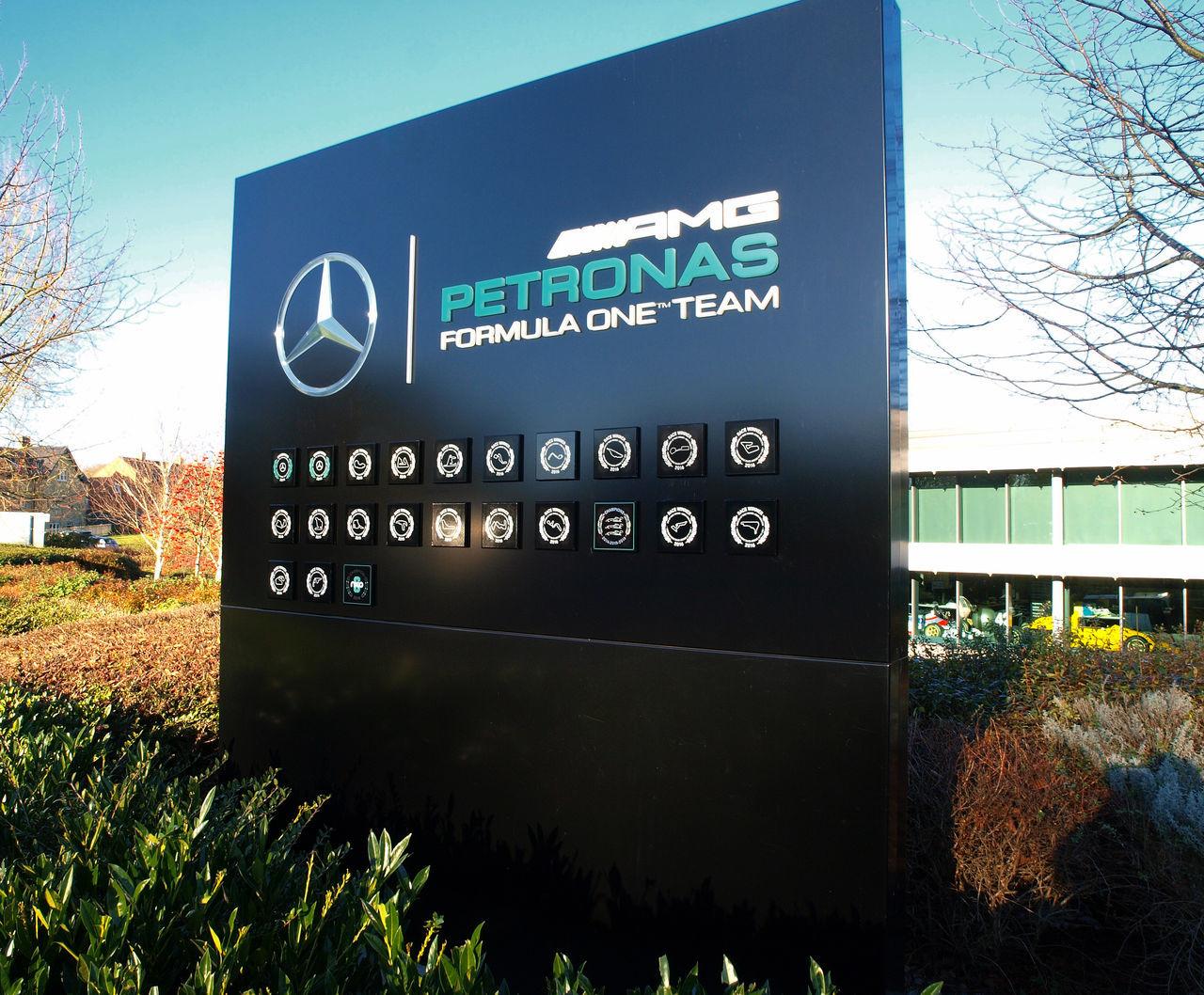 Mercedes AMG Petronas - Brackley Autosport Brackley Brackley Race Teams Company Signs F1 Formula One Racing Landscape Mercedes Mercedes Amg Mercedes AMG Formula One Mercedes AMG Petronas Motorsport Name Board Olympus