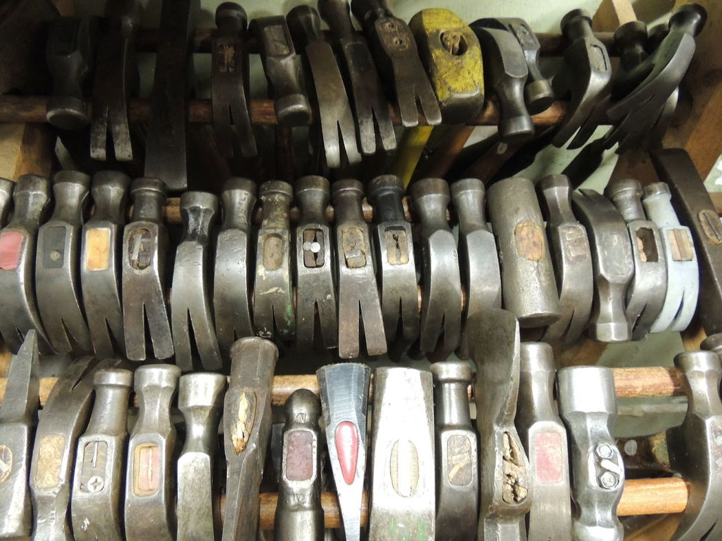 Hammers at Liberty Tool, Liberty Maine Clawhammer Hammers In A Row Large Group Of Objects