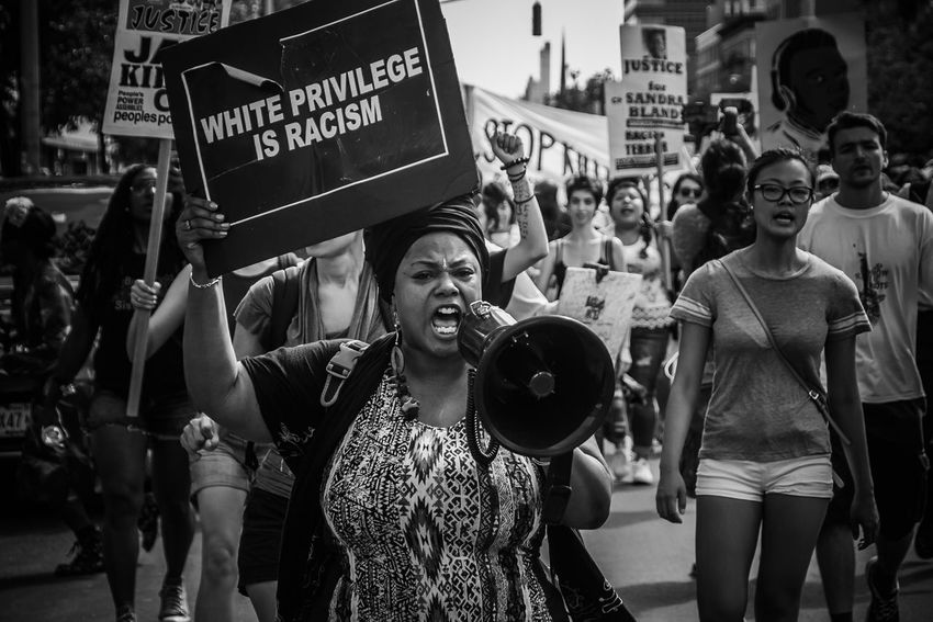 Blacklivesmatter Protest NYC (2015) EyeEm Canon Protest NYC Street Photography Protestor Placard Women Politics And Government Crowd City Issa Khari Issa Black And White Friday