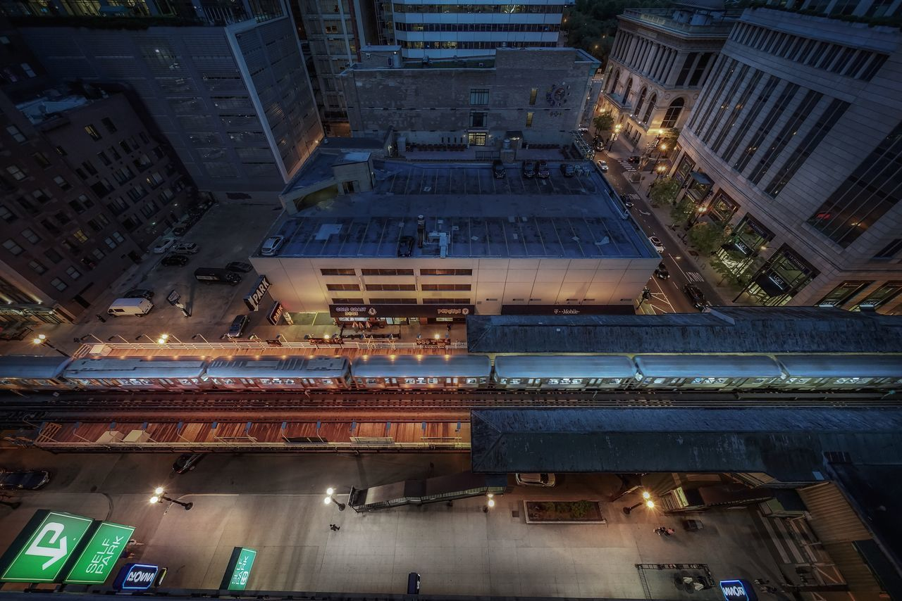 Architecture Building Exterior Built Structure Chicago Architecture City Down View Downtown District Illuminated Loop Night Nightphotography No People Outdoors Parking Street Train Train Station