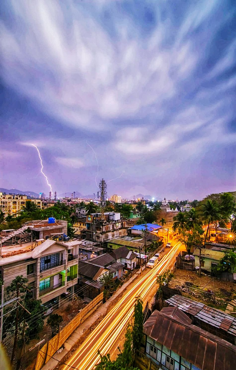 Night Thunerstorms Illuminated Sky Dramatic Sky Nature Thunderstorm High Angle View Light Trail Lightning Outdoors No People Cityscape City Power In Nature Beauty In Nature Skyscrapers Cloud - Sky Rainy Weather Water Landscape Tree First Eyeem Photo Nature