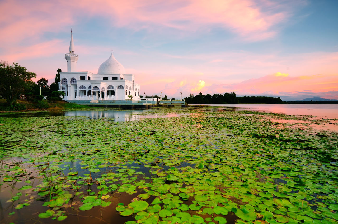 Floating Mosque during Sunset, Blur Foreground due to Long Exposure Architecture Brunei Darussalam Building Exterior Cloud - Sky Dome Eid Flower Malaysia Mosque Nature No People Outdoors Place Of Worship Plant Ramadhan Reflection Religion Sky Spirituality Sunset Water