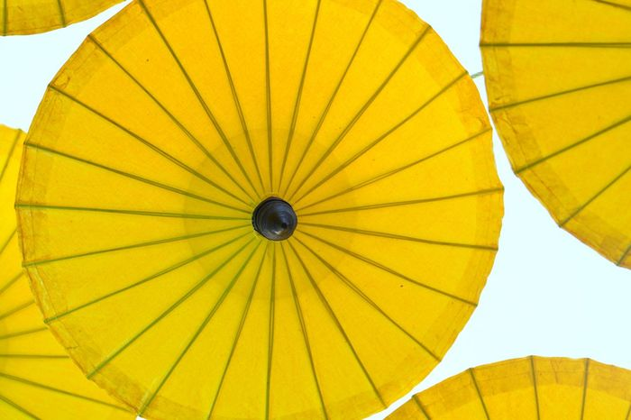 Yellow Low Angle View Pattern No People Outdoors Object Day In The Rain Close-up Objects Umbrella