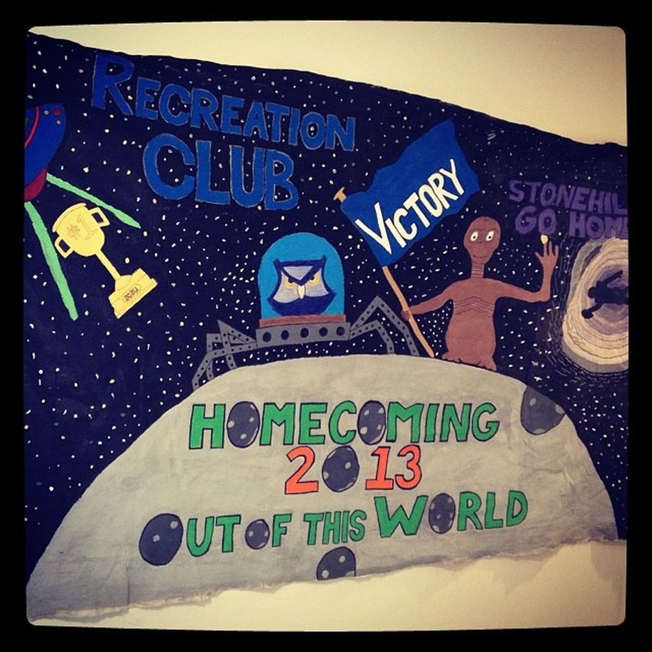 Recreationclub Organization Homecoming2013outofthisworld Southernconnecticutstateuniversitybanner et stonhillgohome toystory spiderotis futuramaheadinglass ufo scsu 1 blackhole stars moon victory flag schoolpride recclub