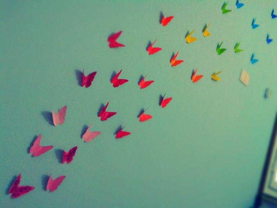 did it today in my room ^__^ Butterflies Painting DIY in Azzawya #Libya