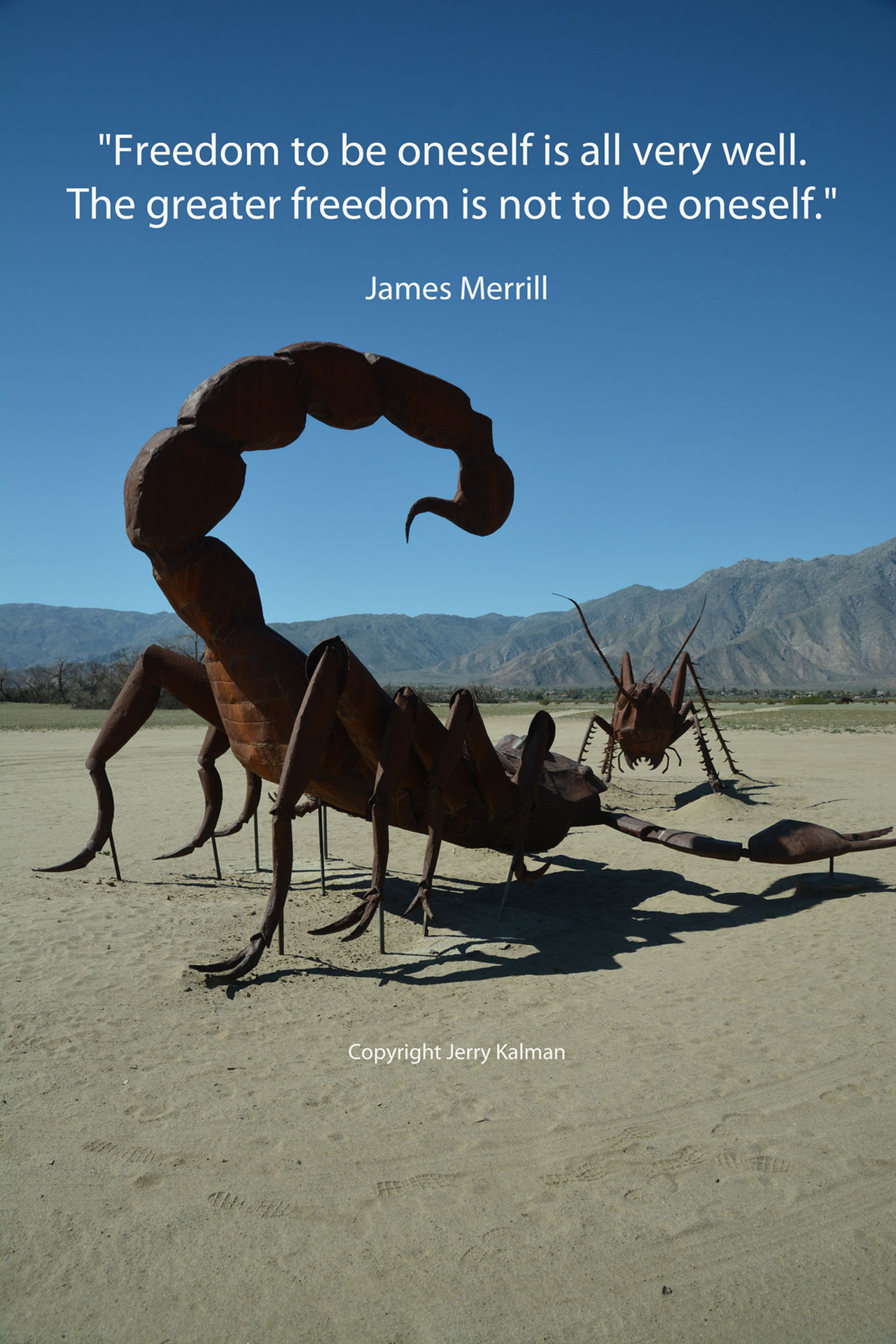 Monster-sized metal sculptures by #Breceda in the desert near #BorregoSprings and a quote by #JamesMerrill on #FrankSinatra's birthday. If this #quotograph speaks to you, feel free to share it with others. Anza Borrego State Park B Berceda Borrego  Frank Gehry James Merrill Scorpion Scorpions Sculpture