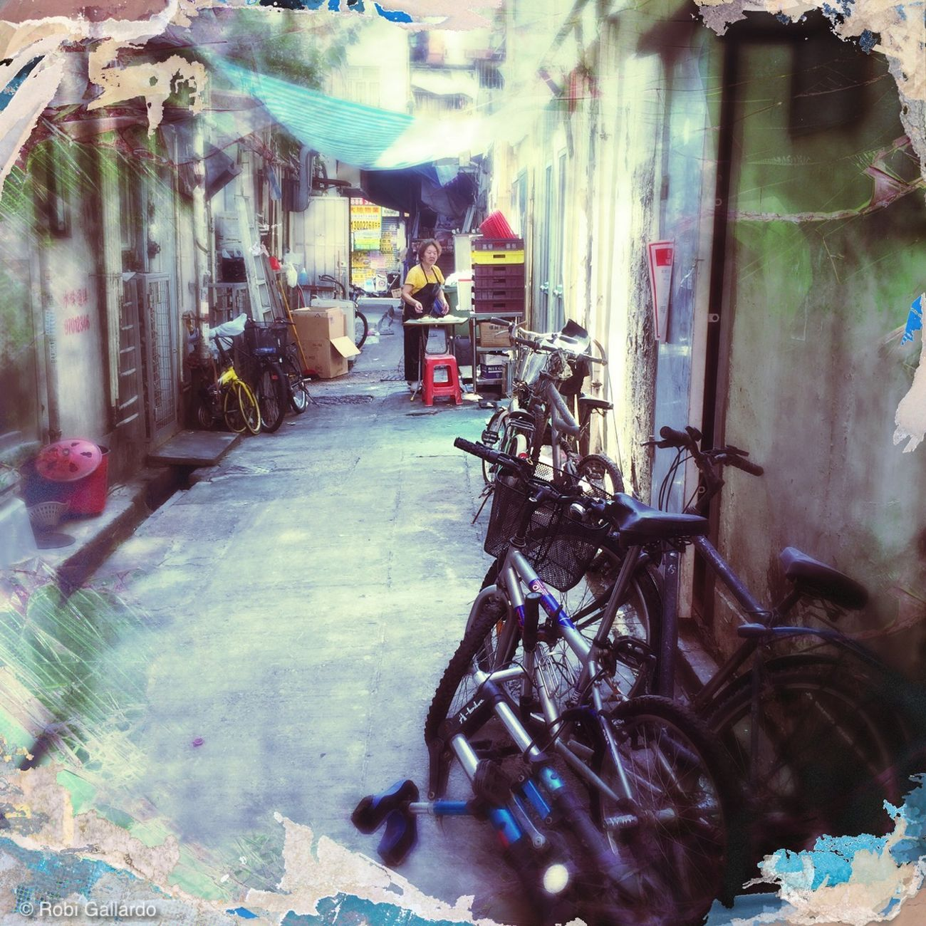 Back alley of Long Ping, Yuen Long Backstreets & Alleyways Bicycle Day Hipstamatic HongKong Outdoors Street Photography Streetphotography