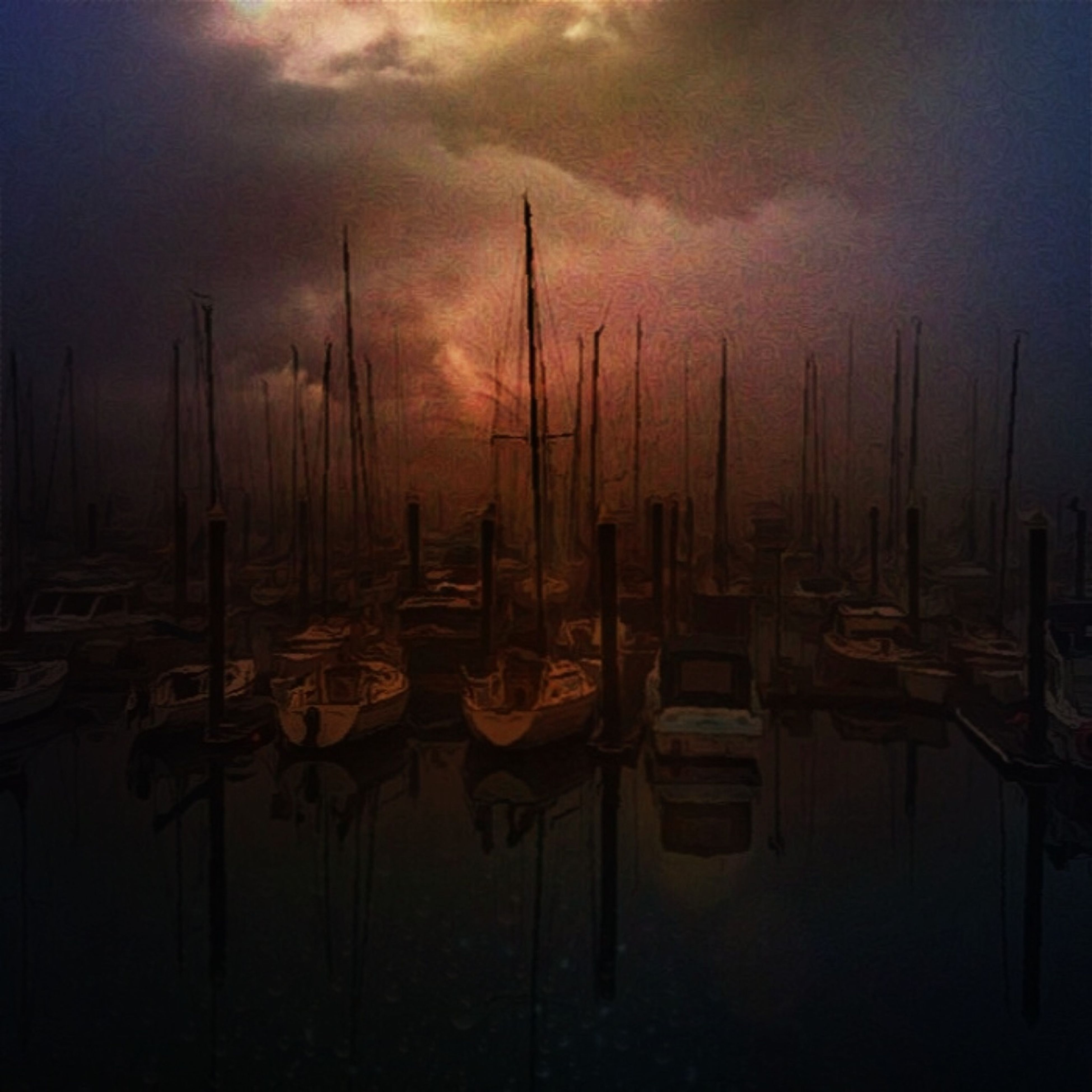 moored, nautical vessel, water, boat, transportation, sky, sea, mode of transport, sunset, harbor, mast, in a row, reflection, sailboat, tranquility, tranquil scene, nature, cloud - sky, group of objects, dusk