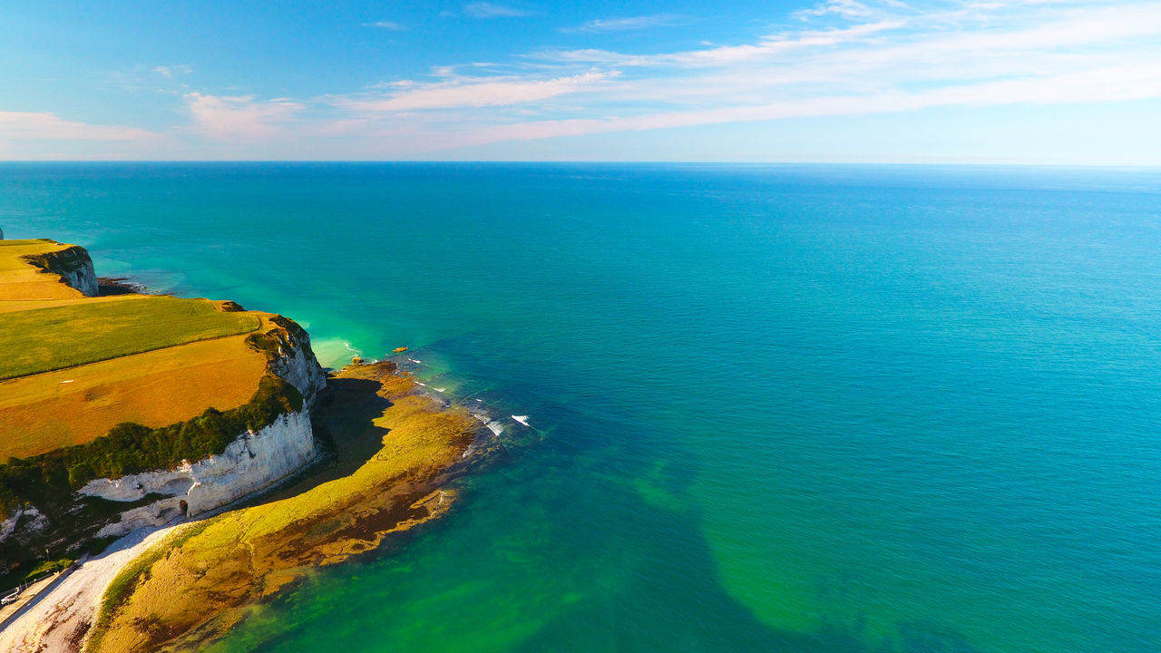 Aerial Shot Aerial View Atlantic Ocean Atlantique Cliffs Coastline Day Drone  Falaises France Horizon Over Water Idyllic Landscape Non-urban Scene Normandy Photography Sea Seascape Sky And Clouds Tranquil Scene Water Yport Normandie