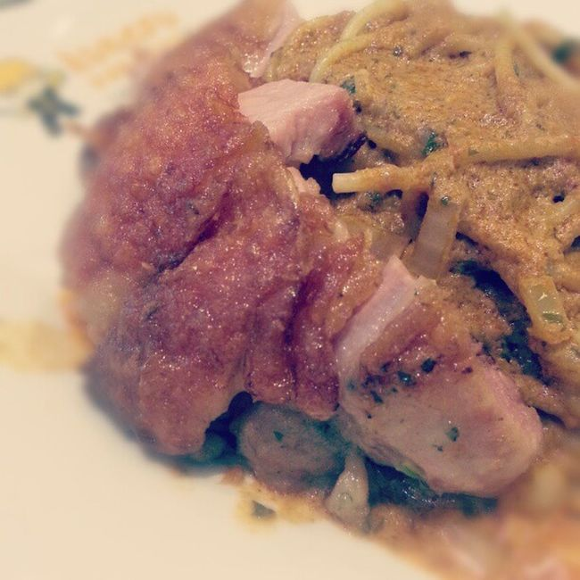 Chicken chop laksa pasta. Driedlaksa