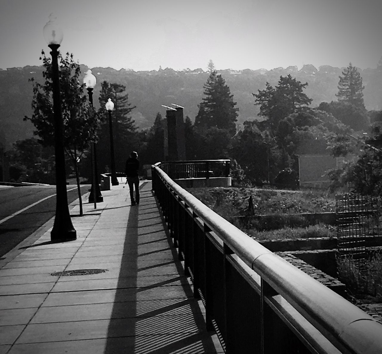 Loner Loner Life Human Condition Long Journey Crossing The Bridge Napa River Alone