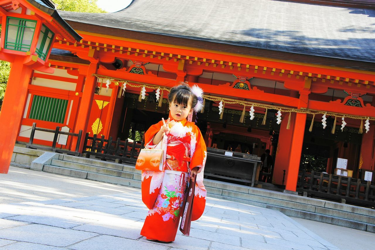 Shichi-Go-San is a traditional rite of passage for Japanese kids. This picture is from a Shrine we visited in Fukuoka. The Portraitist - 2016 EyeEm Awards Japan Traveling In Japan Fukuoka Hakata Kidsfashion Cutekids Kimono Shrine Of Japan Shrine Wanderlust Travel Photography Traditional Costume Culture Of Japan Culture KYUSHU Ilovejapan Ilovetravel