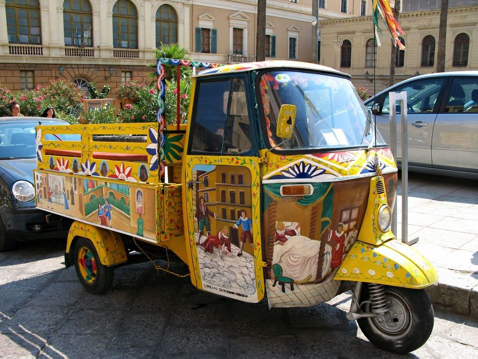 Architecture Building Exterior Built Structure Car City Day Land Vehicle Mode Of Transport No People Outdoors Palermo Transport Sicilian Memories Stationary Street Summer Memories 🌄 Transportation Yellow