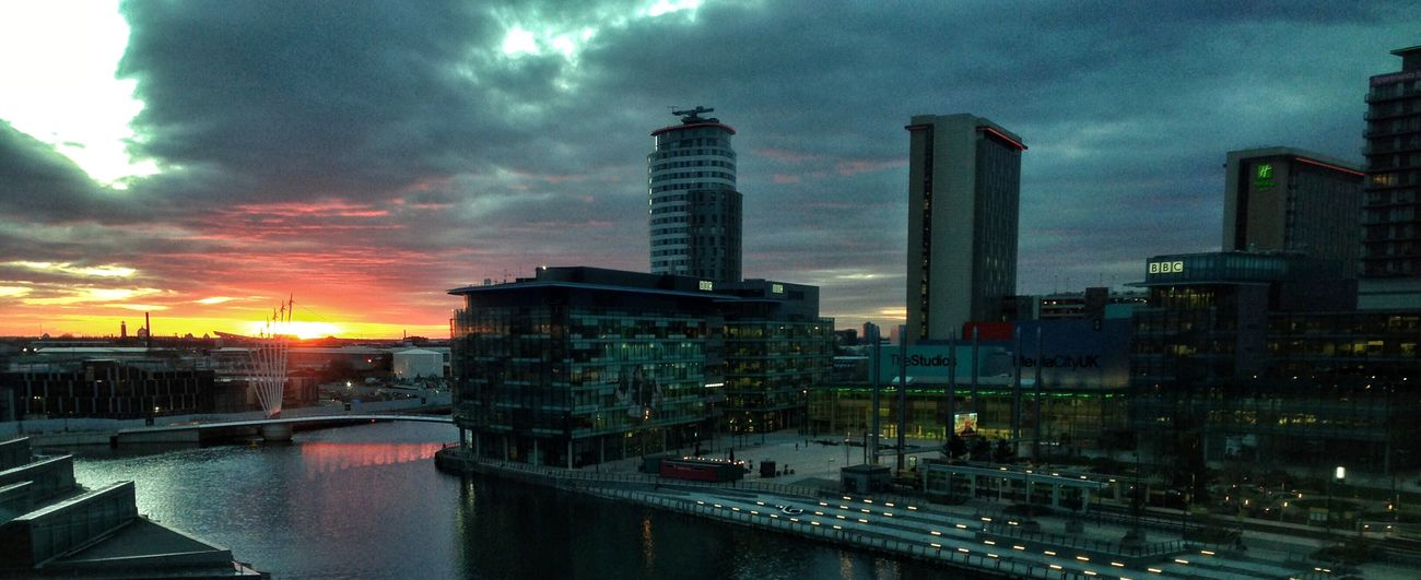The view from the office... Sunset Salford Quays Mediacityuk City Life Sky Cloud - Sky Office Building Architecture Water Cityscape Birds Eye View IPhoneography