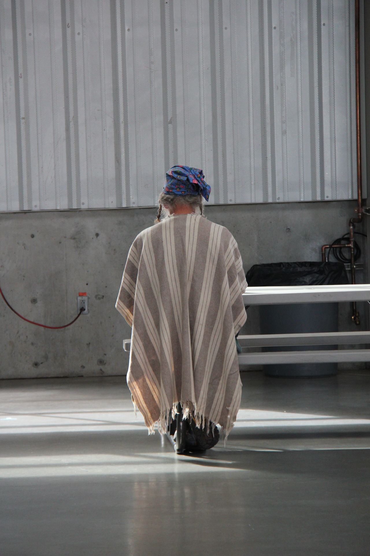 Full Length Hat Industrial One Person Poncho Stripes Pattern Table