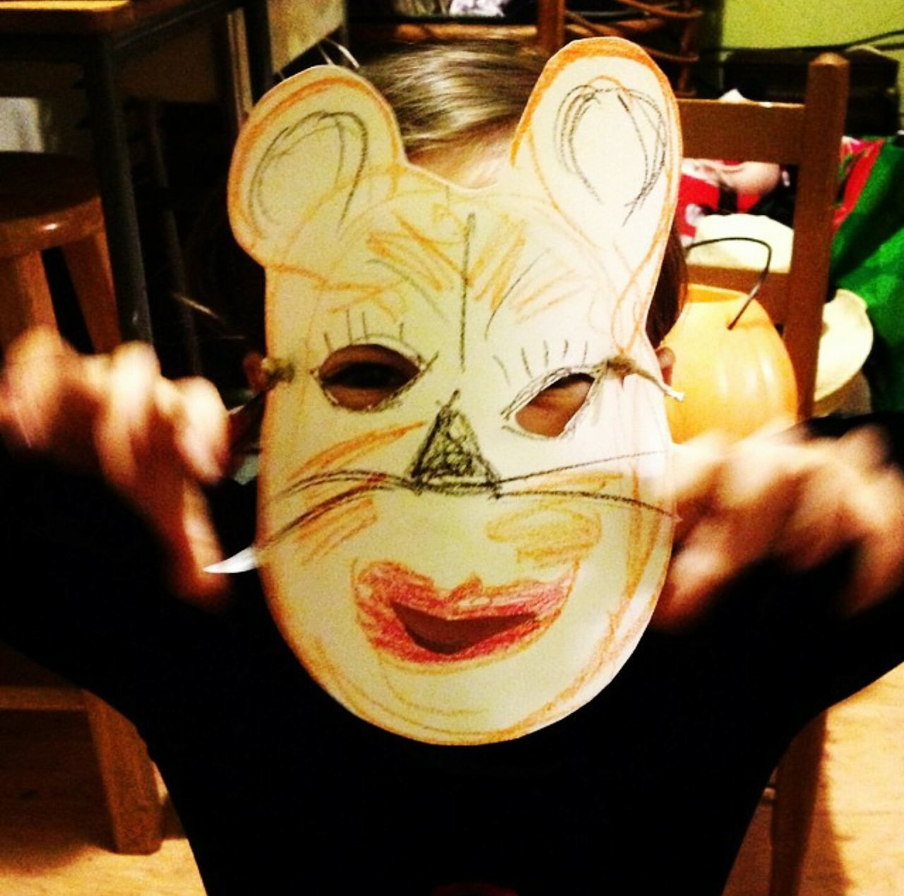 Tiger Art Mask Children Portraits Play Creative Child Little Monster
