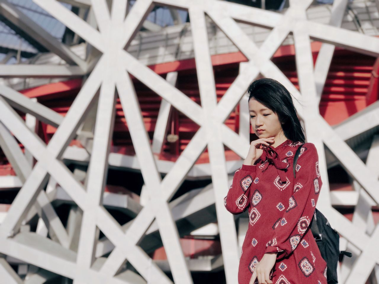 The Architect - 2017 EyeEm Awards Olympic Park  Olympic Traveling Travel Travel Destinations One Person Portrait Portrait Of A Woman The Portraitist - 2017 EyeEm Awards Black Hair Outdoors Leisure Activity Standing Beijing National Aquatics Center