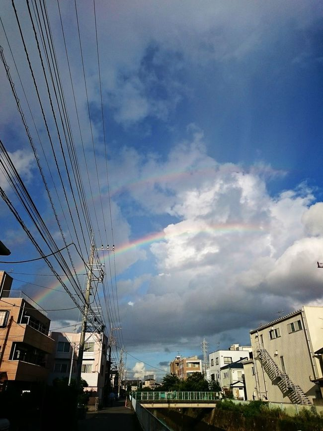 Cable Cloud Cloud - Sky Double Rainbows Electric Wire Nature Power Line  Rainbow Sky Weather