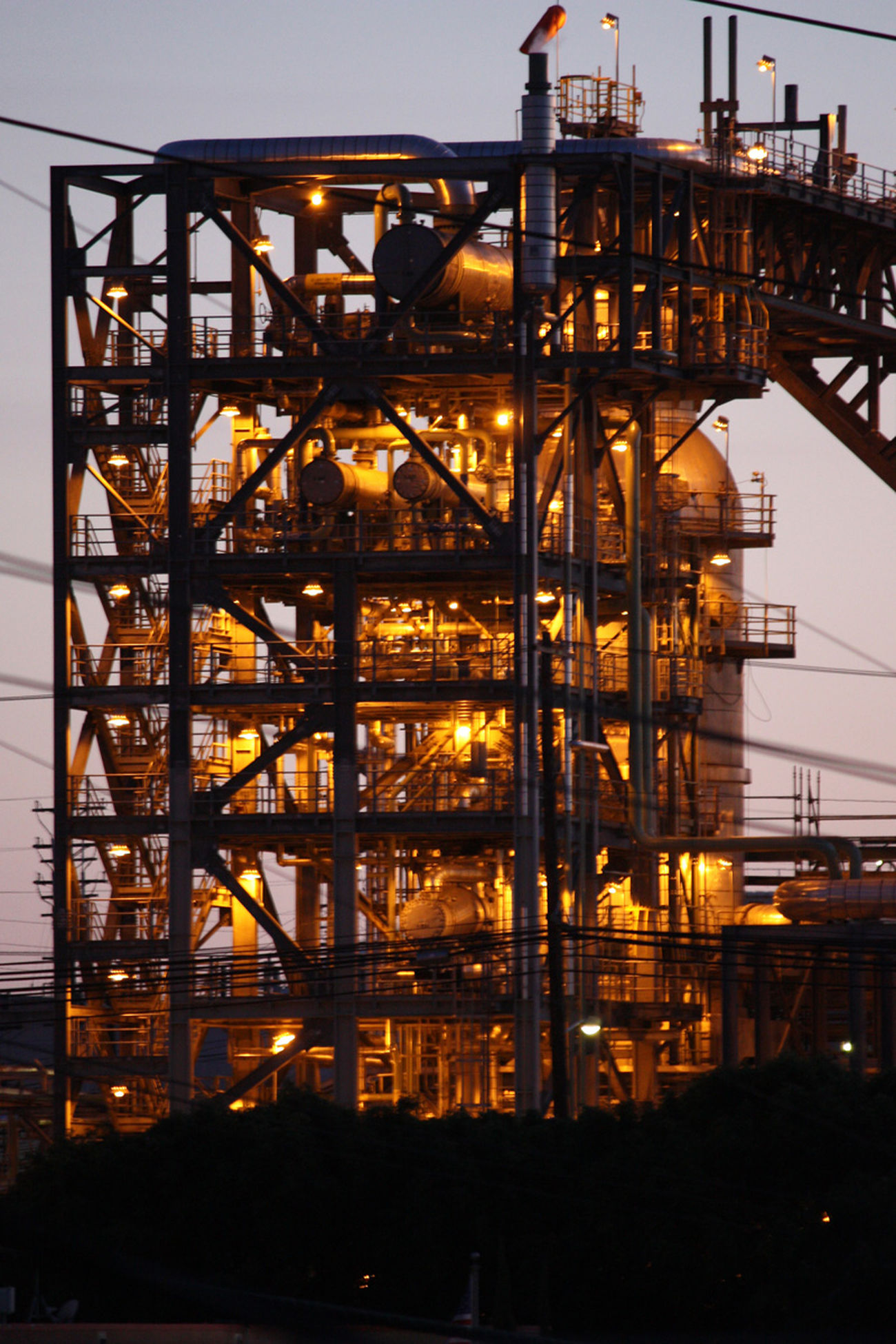Built Structure Chevron Day Industry Lights Night No People Oil Outdoors Refinery