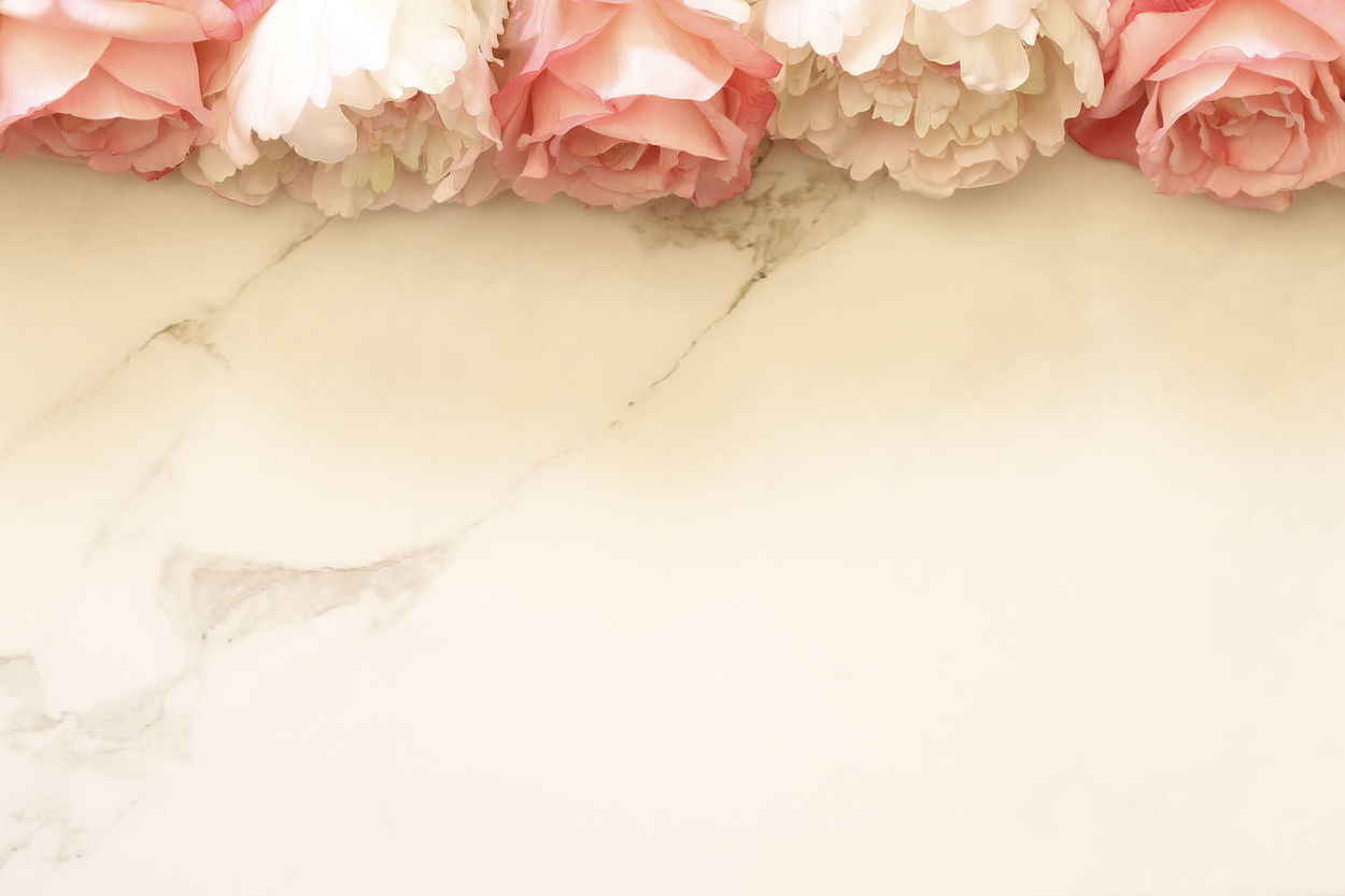 Floral framing Background Backgrounds Beauty In Nature Bouquet Desk Top Floral Border Floral Frame Flower Marble Nature Open Space Pastel Peonies Petals Pink Room For Copy Roses Spring Summer Wedding