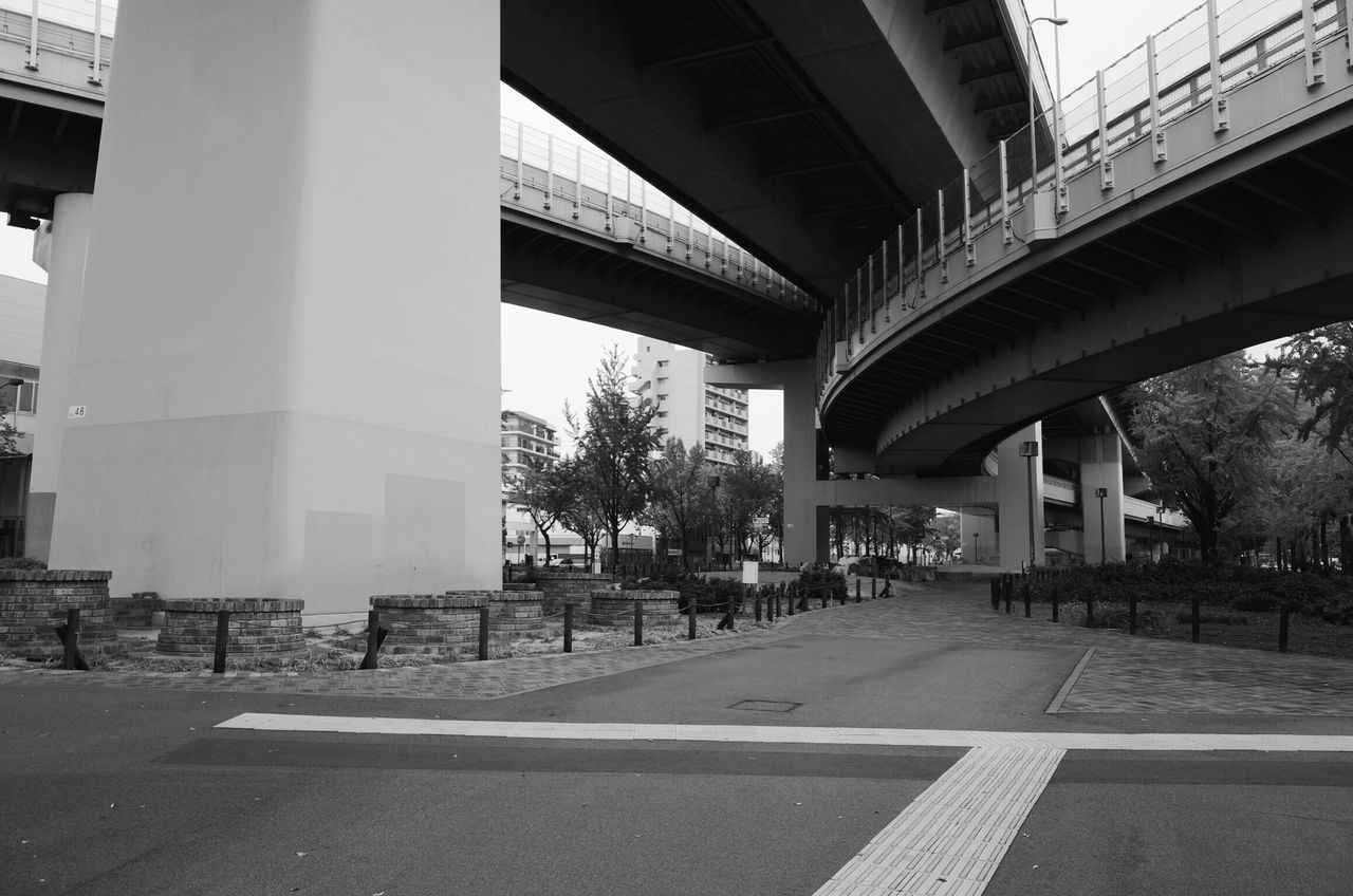 architecture, built structure, transportation, building exterior, day, bridge - man made structure, road, city, outdoors, no people, sky