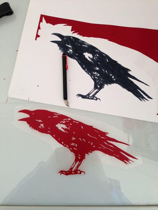 Siebdruck Schablone Grafik Rabe Raven