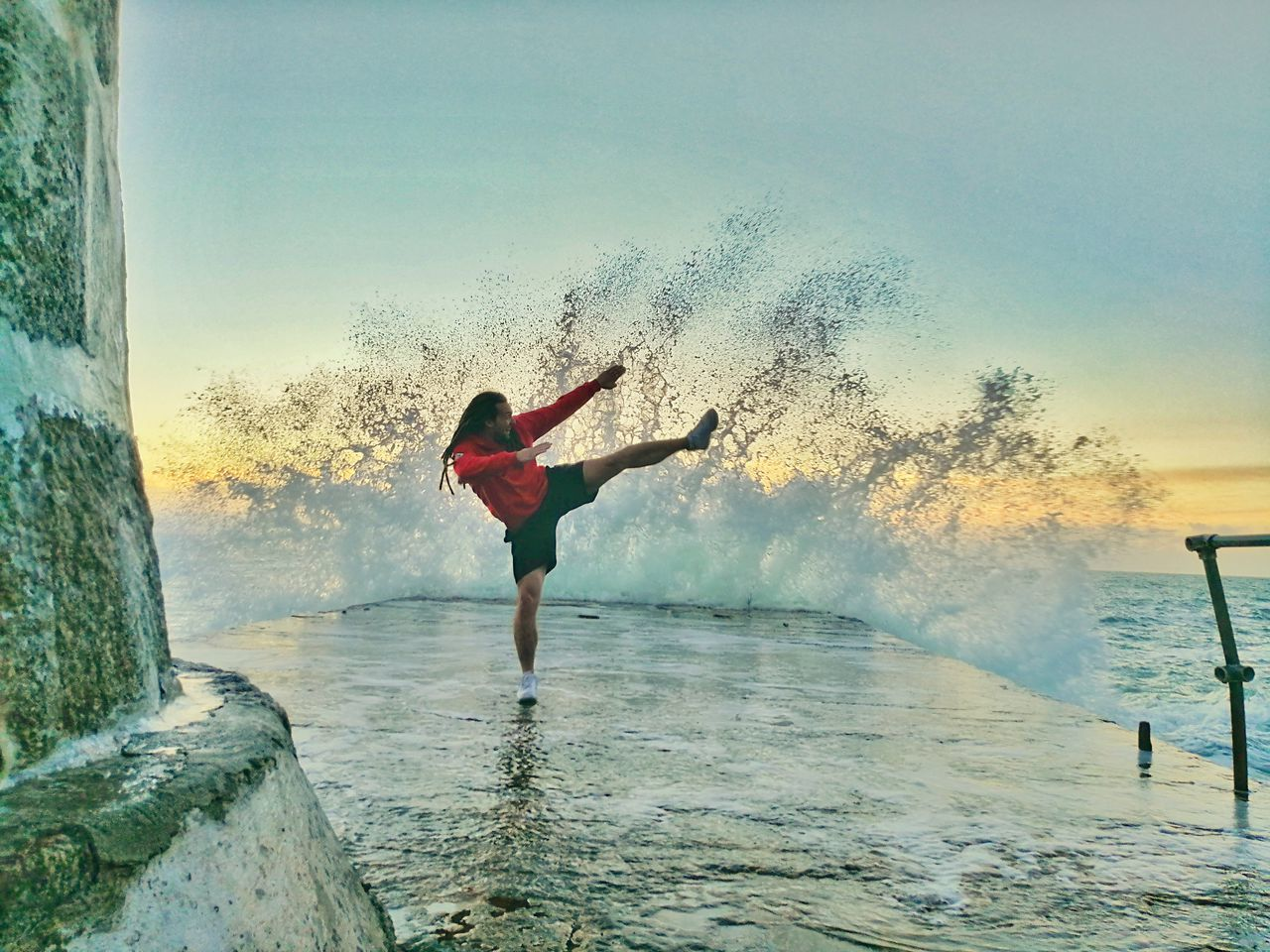 Karate Kick Sea Water