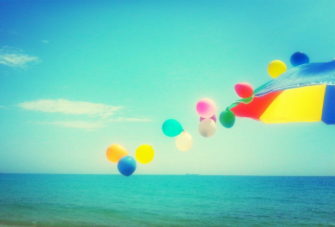 Beautiful stock photos of balloon, Balloon, Beach Umbrella, Colorful, Copy Space