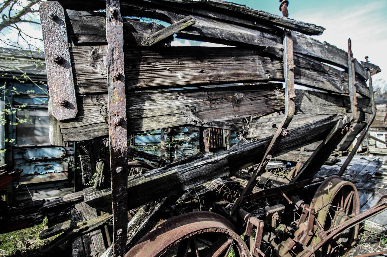 Bad Condition Built Structure Coal Car Coal Mine Coal Mining Coal Mining History Damaged Day Deterioration National Coal Board Nature No People Obsolete Old Outdoors Part Of Plant Railway Ruined Run-down Sky Wood Wood - Material Wooden