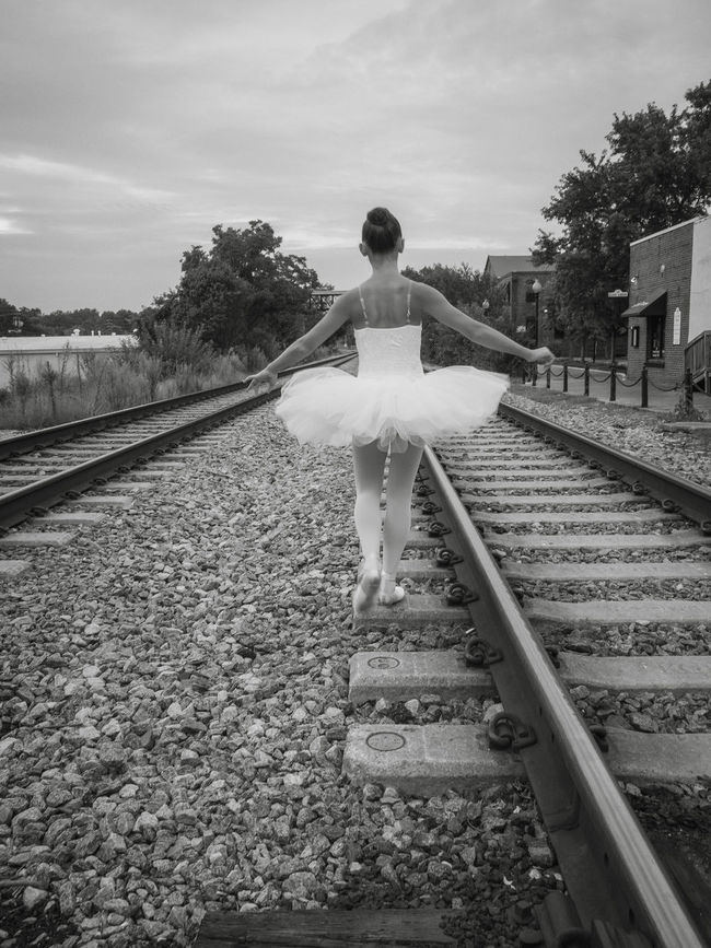 Down the line, in lace. Ballet Dancer Black And White Black And White Collection  Composition Diminishing Perspective Girl Rail Transportation Railroad Track Railway Track Tutudress Vanishing Point Youth