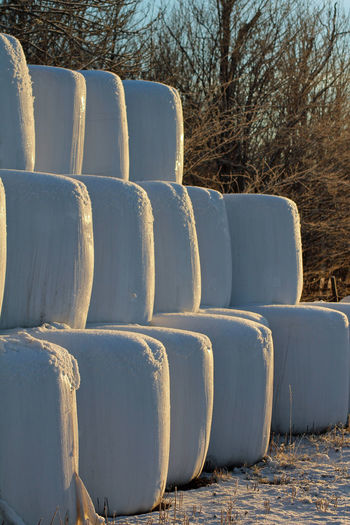Agriculture Animal Food Farm Life Food For Animals Hay Hay Bales Order Pyramid White Winter Wintertime