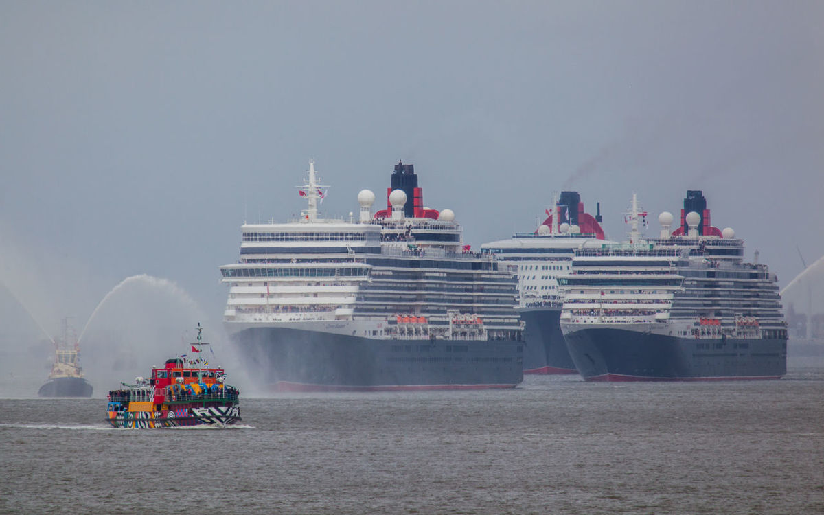 The coming together of the 'Three Queens' for the 150th anniversary of Cunard Cruise Ship Cunard Dazzleships Lifestyles Liner Liverpool Mersey Ferry Merseyside Peter Blake Queen Elizabeth  Queen Mary Queen Victoria  River Ship Tourism Travel Destinations