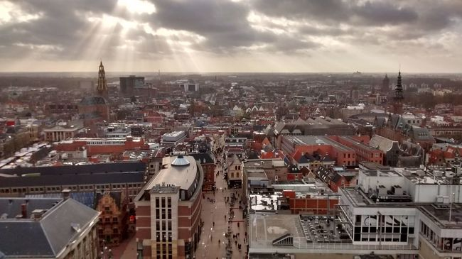Aerial View Architecture City Cityscape Cloud - Sky Groningen Holland High Angle View Horizon Horizon Over Land Netherlands Rays Of Light Sky Storm Cloud