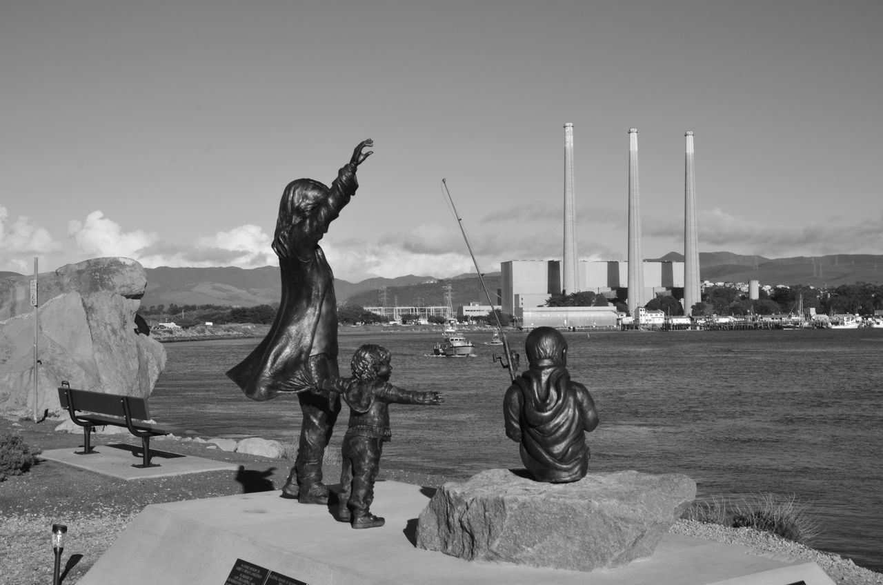 Morro Bay, Coast Guards coming through... Sky Statue Outdoors Friendship Real People Men Day Young Adult Blackandwhite Travel Destinations Sea California Coast California Landscape Nautical Vessel Seascape Ocean Water EyeEm EyeEm Best Shots Morro Bay Coastguard Statue EyeEm Gallery Black And White