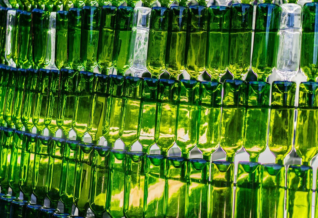 Wine bottles Wine Moments Bottle Green Color Large Group Of Objects In A Row Abundance Repetition Order