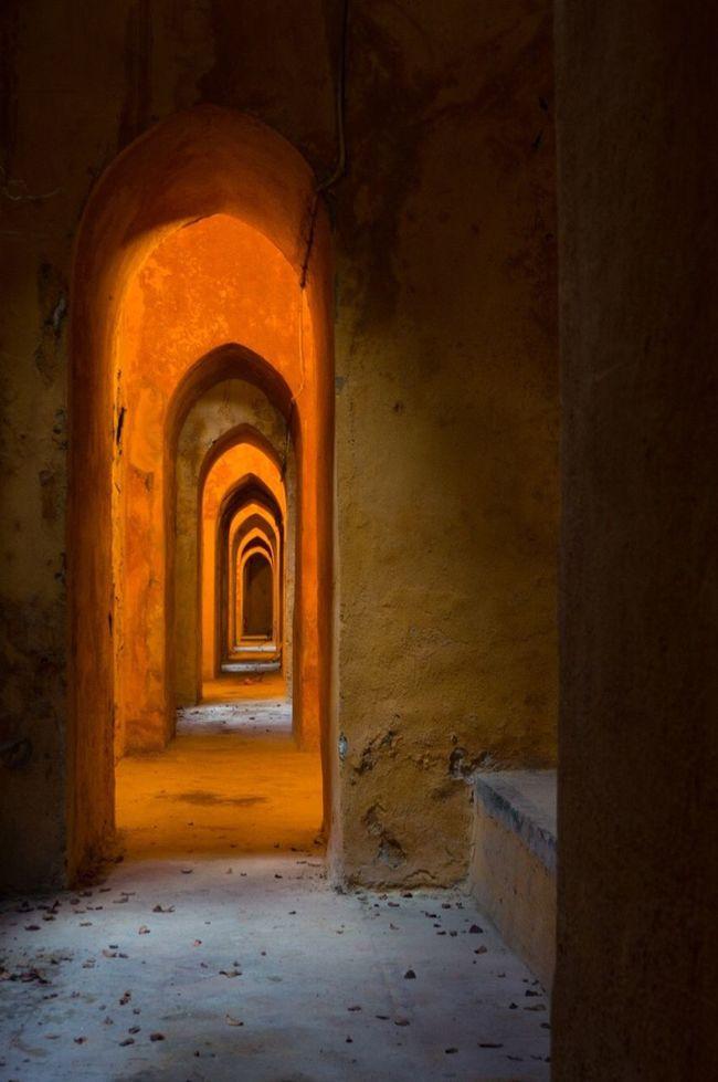 Bath Real Alcazar Sevilla Seville Mudéjar Architecture Light And Shadow Orange Hallway 43 Golden Moments