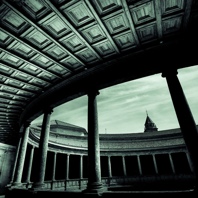 Amazing Amphitheatre Ancient Architectural Column Architecture Beautiful Built Structure Ceiling Creative Light And Shadow Creepy Curved Stairs Dark Granada Green Tint Monochrome No People Old Palace Alhambra Paula Puncher SPAIN Staircase Stone Structural Stunning Architecture Wide Angle